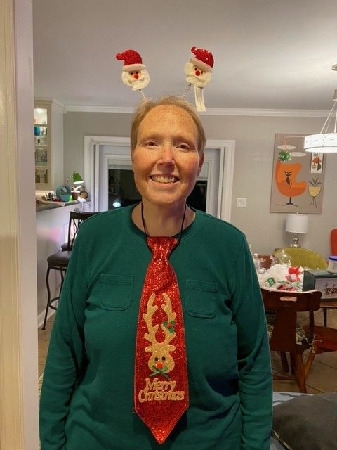 Michelle dressed in a Christmas costume