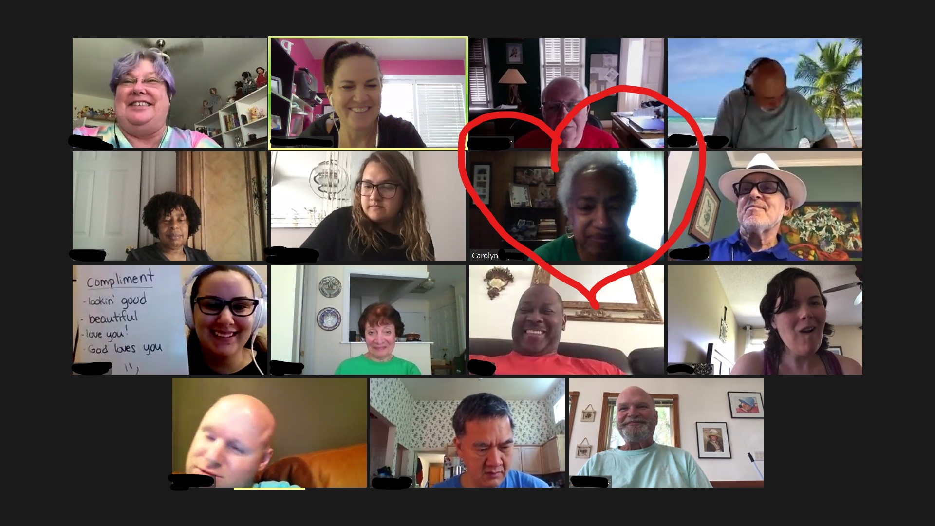 15 participants in a Zoom meeting with one person circled with a red heart shape